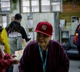 An elderly woman after voting at a polling station on January 16, 2016, in Taipei, Taiwan.