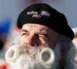 A fan sports a beard during the Audi FIS Alpine Ski World Cup Men's Super-G.