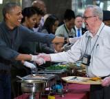 US President Barack Obama Serves Dinner At The Armed Forces Retirement Home