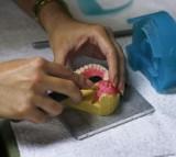 A dental technician working on a denture.