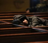 A man asleep.