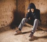 depressed man on streets