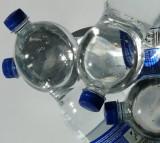 plastic bottles, water