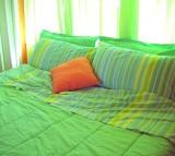 bedroom, bed, green