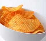 Chips Food White Bowl View Potato Close Pepper