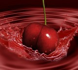 Creative Digital Art Splashing Cherry Fruit Red