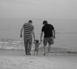 Family Father Beach Child Walking Together