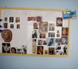 Portraits of celebrities are seen during a memory activity at the Cuidem La Memoria elderly home, which specializes in Alzheimer patients on August 2, 2012 in Barcelona, Spain.