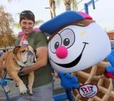 Dunkin' the dog meets Coney the Baskin-Robbins Mascot.